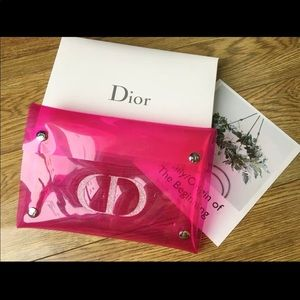 Christian Dior clear Pink Cosmetic Makeup Bag